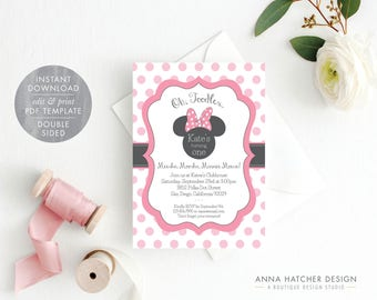 Minnie Mouse Invitation, Editable Birthday Invitation Template, Pink Minnie Mouse Birthday Party DIY Printable, PDF Instant Download BDAY1