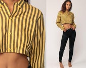 Crop Top Striped Shirt Button Up Blouse Long Sleeve 80s Cropped Shirt Yellow Vintage Small Medium