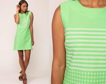 60s Mod Dress MINI Striped Lime Green Checkered Print 1960s Shift Vintage Twiggy Sleeveless Sixties Bright Gogo Minidress Medium Large