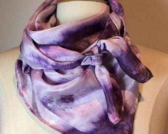 Lavender, purple and pink silk scarf, tie dye shibori square silk crepe de chine hand painted scarf, lilac head scarf