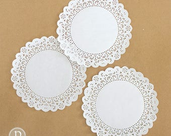 """8"""" Lace White Round Paper Doilies"""