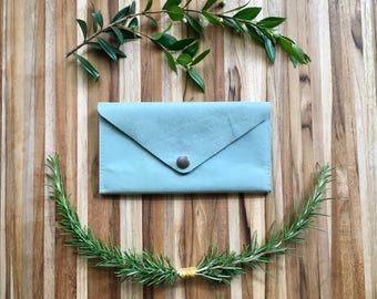 Leather Wallet - Envelope Style - The Lupe - in Pale Robins Egg Blue