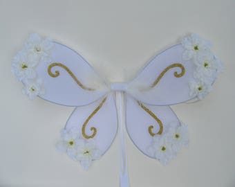 Gold & white enchanted glitter fairy wings, flower girl, glitter fairy princess,  country wedding, enchanted fairy costume