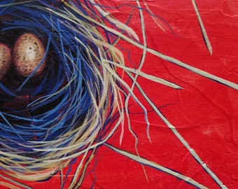 Bird Nest Painting - Daily Painting - Original Art