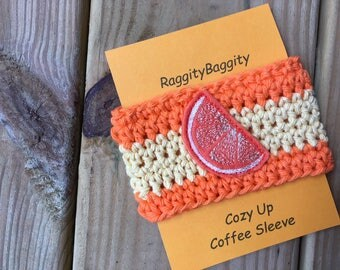 Orange Slice Coffee Cozy - Cup Sleeve - Coffee Cozy - Coffee Cup Cozy - Orange and Yellow Cozy