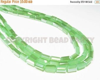 """20% OFF 7.5"""" Glass STRAND - Glass Crystal Beads - 4x8mm Rectangle Tubes - Pearlized Translucent Pastel Green (7.5 inch strand - 24 beads) -"""