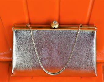 50s gold frame purse, vintage Harry Levine eveningbag, 1950s formal clutch