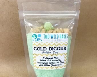 GOLD DIGGER BuBBle Salt, Lemon-Lime & Vebena with Hidden Gems and Gold Salt Bling Nuggets 7 oz