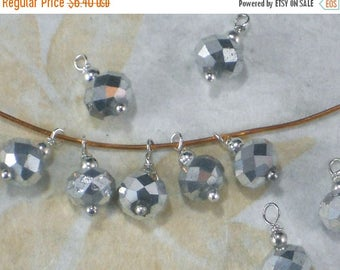ON SALE 20 Silver Dangle Beads 6mm X 8mm Crystal Saucer Rondelle TimeSavers PrEMaDe Dangles (C422)