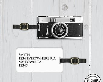 Luggage Tag Retro Vintage Black Camera Metal Luggage Tag Personalized Luggage Tag  Personalized Custom Backs - Single Tag