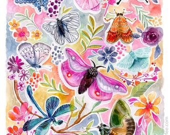 Things With Wings - PRINT - butterfly watercolor, flower art, Feminine Art, Girls Art, Nature Art, moth, dragonfly