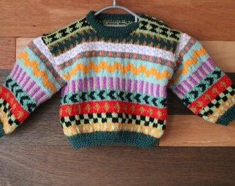 Hand knitted childs fairisle sweater. 2 - 3 years