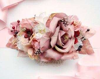 Blush Dusty Powder Pale Pink Old Rose Bridal Flower Satin Sash, Shabby Chic Vintage Sash, Woodland Weddings Sash Belt, Maternity Props,