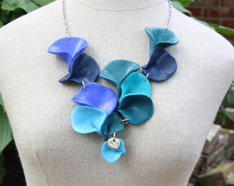 Unique polymer clay statement necklace in shades of blue