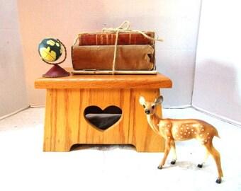 Vintage Wooden Stool, Oak w/ Heart Cuts, Primitive Farmhouse Display, Sturdy, Furniture Handmade Mini Bench, Step Stool, Foot stool, Shelf