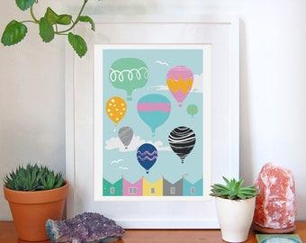 Hot Air Balloon, Bristol, Art, Print, Nursery, Home, Decor, Wall Art, Gift For Her, Baby Shower, Gift, City, Gifts, Balloon Fiesta, A4, A3