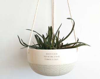 Large ceramic hanging planter - Ceramic plant hanger turquoise and white - Modern hanging planter with french quote