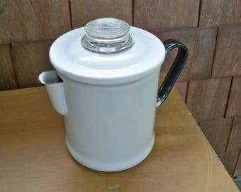 Vintage Serving White Enamel Coffee Pot Percolator Kitchen Collectible