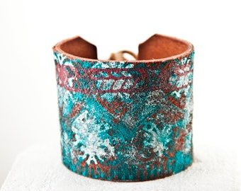Turquoise Jewelry, Leather Cuff Bracelets For Women, Boho Jewelry, Turquoise Bracelets