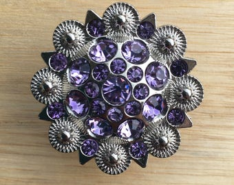 Crystal Drawer Knobs - Cabinet Knobs - Furniture Knobs with Purple Crystals (MK160-06)