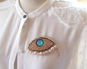 mauvais œil. broche perles d'eau douce. TROISIÈME oeil bijoux cadeau pour un ami spirituel. Cadeau d'anniversaire pour femme. Cadeau d'anniversaire fille