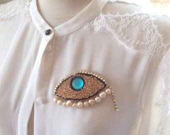 pearls  brooch | the third eye | bead embroidered rhinestone brooch | fresh water pearls  brooch | large statement handmade brooch | june
