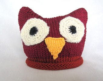 Knit Cotton Baby Owl hat, great photo prop
