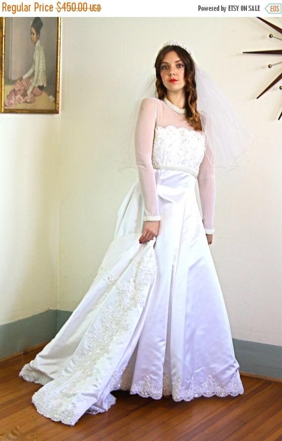 SALE 50% OFF Vintage Mesh & Lace Wedding Dress by MORI Lee Sheer Netting Long Sleeves High Beaded Pearl Collar Full Satin Long Train Bridal