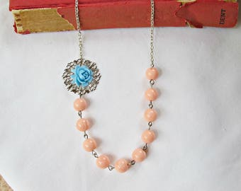 Botanical Jewelry Necklace Asymmetrical - Jewellery Peach Coral Blue Pastel - Vintage Rose Candy Silver