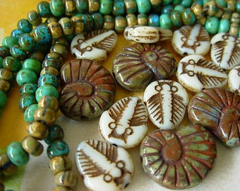 Czech Picasso Beads, Assorted Beads, Aged Seed Beads, Ammonite+ (#5HP)