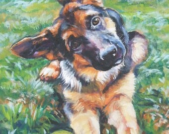"GERMAN SHEPHERD dog art canvas PRINT of LAShepard painting 8x10"" gsp puppy"