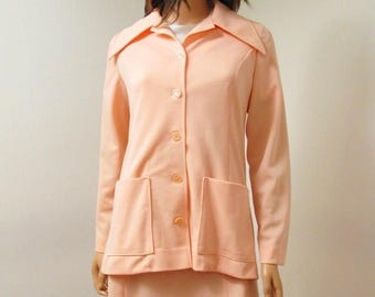 ON SALE CLEARANCE Peach Dress and Jacket Set Sz M - Vintage 70s Short Sleeve Dress Suit Free Us Shipping