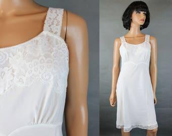 Vintage 60s Slip Sz 34 M White Rayon Nylon Crepe Bias Cut Lace Trim Back Magic Free US Shipping