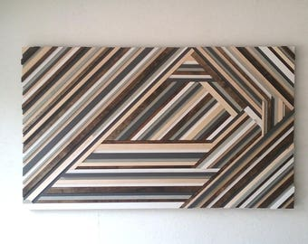 Geometric Wood Wall Art - Abstract Wood Sculpture - Triangles - Chevron
