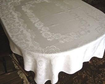 DAMASK Tablecloth Vintage Bone WHITE Blended Cloth Open Mums