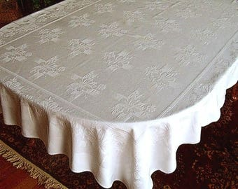 DAMASK Tablecloth Vintage Bone WHITE Supple Sailcloth Cotton Embossed Flowers