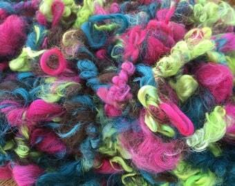 Art Yarn, Suri Alpaca, Handspun, 13 Yards, Hand-Dyed, Cedar, Azalea, Wattle, Natural Brown