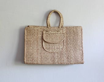 Vintage Woven Straw Oversize Tote Bag
