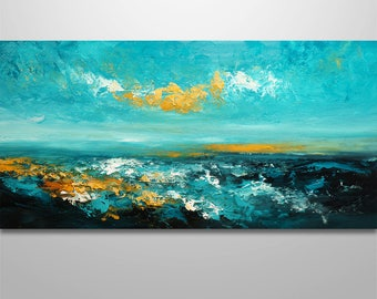 Abstract Wall Art, Abstract Landscape, Abstract Painting, Acrylic painting, Seascape painting, original painting, canvas art, Home decor,