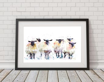 LIMITED edition print of my  SHEEP 1315wall art, home decor, nursery art, wildlife animal art.  hand signed, illustration, animal art