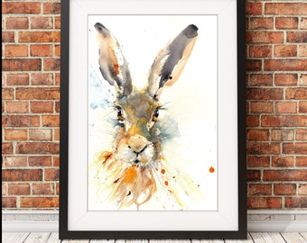 LIMITED edition PRINT Hare Illustration, Hare Art Print, Rabbit wall art, Hare painting, Hare watercolour home decor watercolour Hare giclee