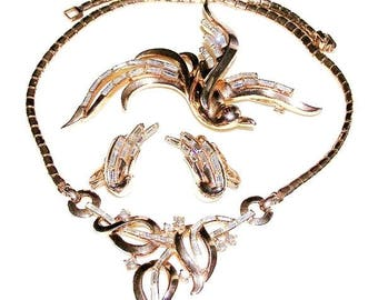 Trifari Pat Pend Bird of Paradise Necklace Brooch and Earring Set