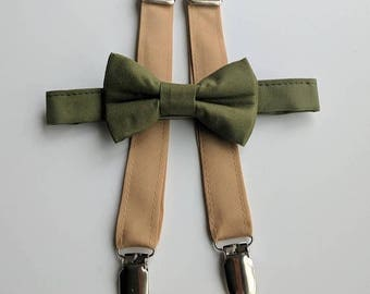 Olive Bowtie and tan Suspenders. Infant, Toddler, Boy. 2 weeks before shipment.
