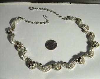 1950s vintage signed CORO high end rhodium plated- REPAIR ITEM just stones needed very nice