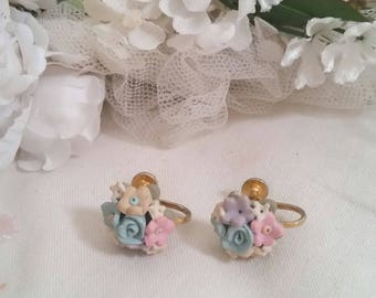 vintage flower clip on earrings, cute tiny flowers, screw back earrings, victorian costume, polymer clay jewellery