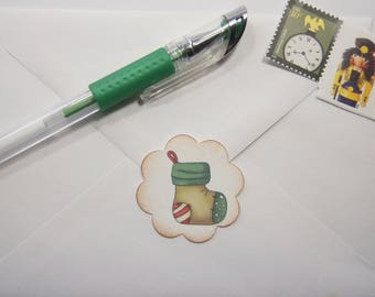 Christmas Stocking Envelope Seals or Stickers set of 20 1.5 inch scallop circle - SES380