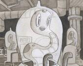 Alien - Original Watercolor - Mab's Drawlloween Club Day 8
