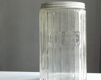 Vintage Hoosier Coffee Jar, original lid, antique storage
