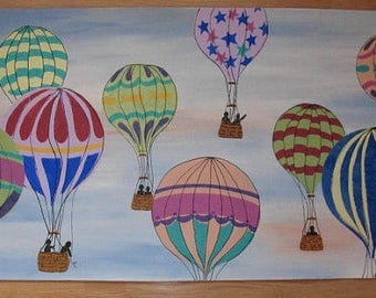 Floorcloth with Hot Air Balloons - 4 1/2 feet long