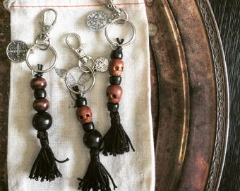 Momento Mori Key Chain, Handmade Black and Brown Wooden Beads with Skull and St. Benedict's Medal